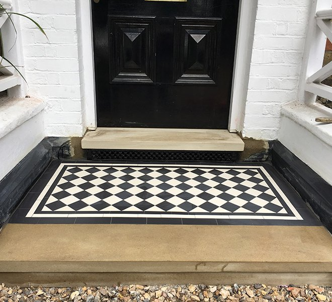 Black and white porch tiles